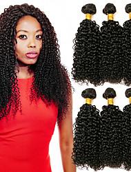 baratos -6 pacotes Cabelo Brasileiro Kinky Curly Cabelo Humano Um Pacote de Solução / Extensões de Cabelo Natural 8-28 polegada Côr Natural Tramas de cabelo humano extensão / Melhor qualidade Extensões de