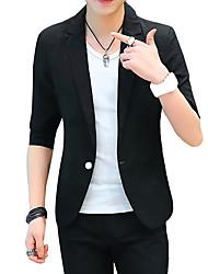 cheap -Men's Linen Blazer-Solid Colored Peaked Lapel