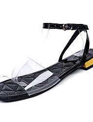 povoljno -Žene Cipele PU Ljeto Udobne cipele Sandale Ravna potpetica Okrugli Toe Crn / Pink