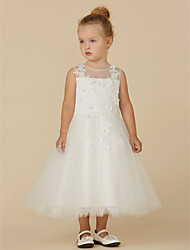 cheap -Princess Tea Length Flower Girl Dress - Lace / Tulle Sleeveless Illusion Neck with Beading / Appliques by LAN TING BRIDE®
