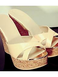 cheap -Women's Shoes Nappa Leather Summer Comfort Slippers & Flip-Flops Wedge Heel Light Yellow