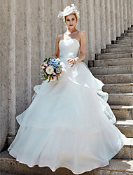 cheap -Ball Gown Sweetheart Neckline Floor Length Organza Made-To-Measure Wedding Dresses with Flower / Criss-Cross / Tiered by LAN TING BRIDE®