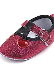 abordables -Fille Chaussures Polyuréthane Eté Premières Chaussures Ballerines Scotch Magique pour Bébé Argent / Rouge / Rose