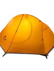Недорогие -Naturehike 1 человек Семейный кемпинг-палатка На открытом воздухе С защитой от ветра, Дожденепроницаемый, Быстровысыхающий Двухслойные зонты Карниза Палатка >3000 mm для Походы / туризм / спелеология