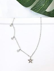 preiswerte -Damen Stilvoll Halsketten - Stern Einfach, Koreanisch, Modisch Silber 38 cm Modische Halsketten 1pc Für Alltag