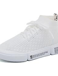 Недорогие -Жен. Обувь Хлопок / Сетка Лето Удобная обувь Спортивная обувь Беговая обувь / Для прогулок На плоской подошве Круглый носок Белый / Черный