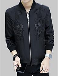 Недорогие -Муж. Куртка Однотонный / Цветочный принт Вышивка
