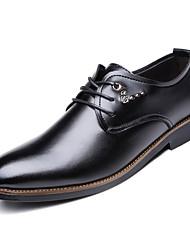 baratos -Homens sapatos Pele Outono Conforto Oxfords Preto