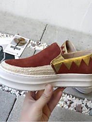 abordables -Femme Chaussures Daim Printemps / Eté Confort Mocassins et Chaussons+D6148 Talon Plat Bout ouvert Noir / Rouge