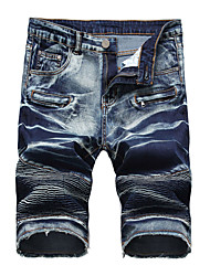 cheap -Men's Jeans / Shorts Pants - Solid Colored Ruched