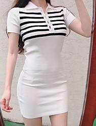 baratos -Mulheres Boho Tricô Vestido Acima do Joelho Preto & Branco