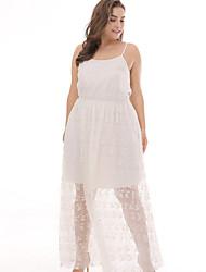 cheap -Sweet Curve Women's Beach Cotton A Line Dress Maxi Strap / Summer