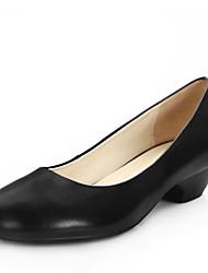 Недорогие -Жен. Обувь Кожа Весна / Лето Удобная обувь Мокасины и Свитер На низком каблуке Круглый носок Черный