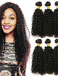 cheap -Indian Hair Curly Headpiece / Natural Color Hair Weaves / Bundle Hair 3 Bundles 8-28 inch Human Hair Weaves Machine Made Gift / Extention / Woven Natural Black Human Hair Extensions Unisex