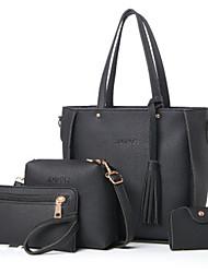 baratos -Mulheres Bolsas PU Conjuntos de saco Conjunto de bolsa de 4 pcs Ziper Vermelho / Rosa / Cinzento