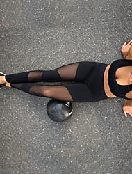 preiswerte -Damen See Through Yoga-Hose - Schwarz Sport Klassisch Elasthan Strumpfhosen / Lange Radhose / Leggins Laufen, Fitness, Tanz Sportkleidung Atmungsaktiv, Weich, Schweißableitend Dehnbar