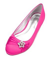 cheap -Women's Shoes Satin Spring & Summer Comfort / Ballerina Wedding Shoes Flat Heel Round Toe Rhinestone / Satin Flower / Sparkling Glitter Blue / Champagne / Ivory / Party & Evening