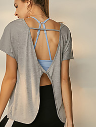 cheap -Women's Boat Neck Open Back Yoga Top - Gray, Light Pink Sports Fashion Modal Tee / T-shirt Running, Fitness, Gym Short Sleeve Activewear Quick Dry, Breathable, Sweat-wicking Micro-elastic