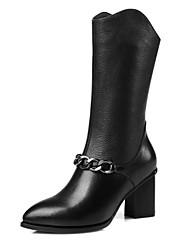 Недорогие -Жен. Обувь Наппа Leather Наступила зима Армейские ботинки Ботинки На толстом каблуке Заостренный носок Сапоги до середины икры Черный
