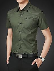 Недорогие -Муж. Рубашка Армия Однотонный