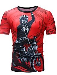 baratos -Homens Camiseta Básico Estampado, Retrato / Tribal