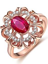 baratos -Mulheres Ruby Sintético Anel - Flor Fashion 5 / 6 / 7 Ouro Rose Para Encontro / Aniversário