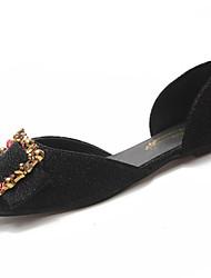 Недорогие -Жен. Обувь Полиуретан Лето Удобная обувь На плокой подошве На плоской подошве Квадратный носок Стразы Черный / Серебряный