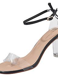 baratos -Mulheres Sapatos Couro Ecológico Verão Shoe transparente Sandálias Salto de bloco Ponta Redonda Preto / Bege / Amarelo