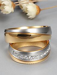abordables -Couple Zircon cubique Couple de Bagues - Mode, Elégant 6 / 7 / 8 Or Pour Mariage / Fiançailles / Cérémonie