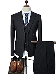 cheap -Men's Plus Size Suits-Striped Peaked Lapel / Long Sleeve