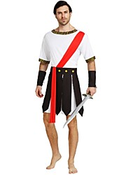 cheap -Soldier / Warrior Roman Costumes Costume Men's Halloween Carnival Masquerade Festival / Holiday Halloween Costumes Outfits White Solid Colored Halloween Halloween