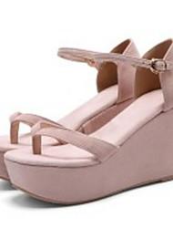 cheap -Women's Shoes Sheepskin Summer Comfort / Basic Pump Sandals Wedge Heel Almond / Light Pink