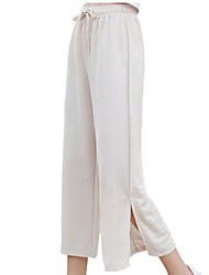 cheap -women's linen wide leg pants - solid colored