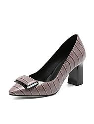 Недорогие -Жен. Наппа Leather Лето Туфли лодочки Обувь на каблуках На толстом каблуке Черный / Серый / Синий / Повседневные