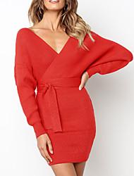 baratos -Mulheres Básico / Elegante Tricô Vestido - Frente Única, Sólido Mini