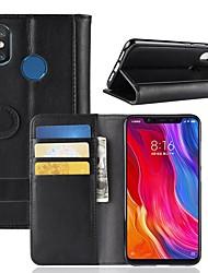 billiga -fodral Till Xiaomi Mi 8 / Mi 8 SE Plånbok / Korthållare / med stativ Fodral Enfärgad Hårt Äkta Läder för Xiaomi Redmi Note 5 Pro / Xiaomi Redmi Note 5 / Xiaomi Redmi Note 4X / Xiaomi Mi 6
