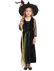 baratos -Bruxa Roupa Para Meninas Dia Das Bruxas / Carnaval / Dia da Criança Festival / Celebração Trajes da Noite das Bruxas Preto Sólido / Halloween Dia Das Bruxas