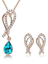 billiga -Dam Trendig Smyckeset - Bergkristall Hängande Europeisk, Mode, Elegant Omfatta Halsband Örhänge Rosenröd / Blå Till Casual Dagligen / Örhängen