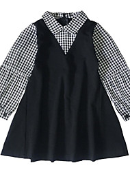 cheap -Kids Girls' Sweet / Street chic Holiday / Going out Black & White Check / Patchwork Patchwork / Print Long Sleeve Above Knee Dress / Cotton