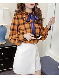 Недорогие -женская льняная / хлопчатобумажная кофточка - полосатая / сплошная цветная шея