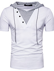 cheap -Men's Basic / Street chic T-shirt - Color Block Tiger, Lace up / Patchwork