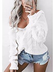 Недорогие -Жен. На выход Длинный рукав Свободный силуэт Пуловер - Однотонный Глубокий V-образный вырез