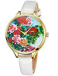 abordables -Geneva Femme Montre Bracelet Chinois Design nouveau / Montre Décontractée / Cool Cuir Bande Décontracté / Mode Noir / Blanc / Rouge
