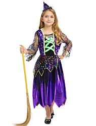 Недорогие -ведьма Костюм Девочки Дети Хэллоуин Хэллоуин Карнавал День детей Фестиваль / праздник Инвентарь Лиловый Однотонный Halloween