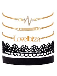 cheap -Women's Cubic Zirconia Vintage Style Chain Bracelet - Lace Letter, Love Vintage, Fashion, Elegant Bracelet Gold For Gift / Birthday / 5pcs