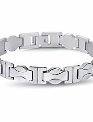 cheap -Men's Stylish / Link / Chain Chain Bracelet - Titanium Steel Creative, Wave Stylish, Simple, Classic Bracelet Silver For Street / Going out