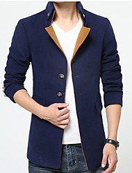 cheap -Men's Cotton Trench Coat - Solid Colored Stand / Long Sleeve