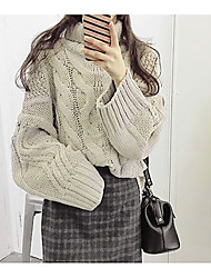 Недорогие -Жен. Длинный рукав Пуловер - Однотонный Хомут