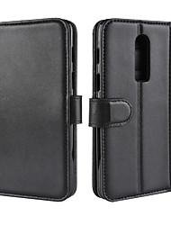 Недорогие -Кейс для Назначение OnePlus OnePlus 6 / OnePlus 5T Кошелек / Бумажник для карт / со стендом Чехол Однотонный Твердый Настоящая кожа для OnePlus 6 / One Plus 5 / OnePlus 5T