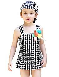 abordables -Enfants Fille Plage Pied-de-poule Imprimé Polyester / Nylon Maillot de Bain Noir